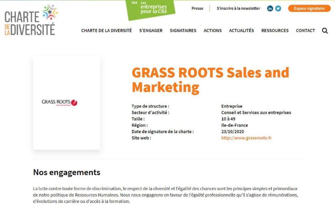 Grass Roots devient signataire de la Charte de la Diversité